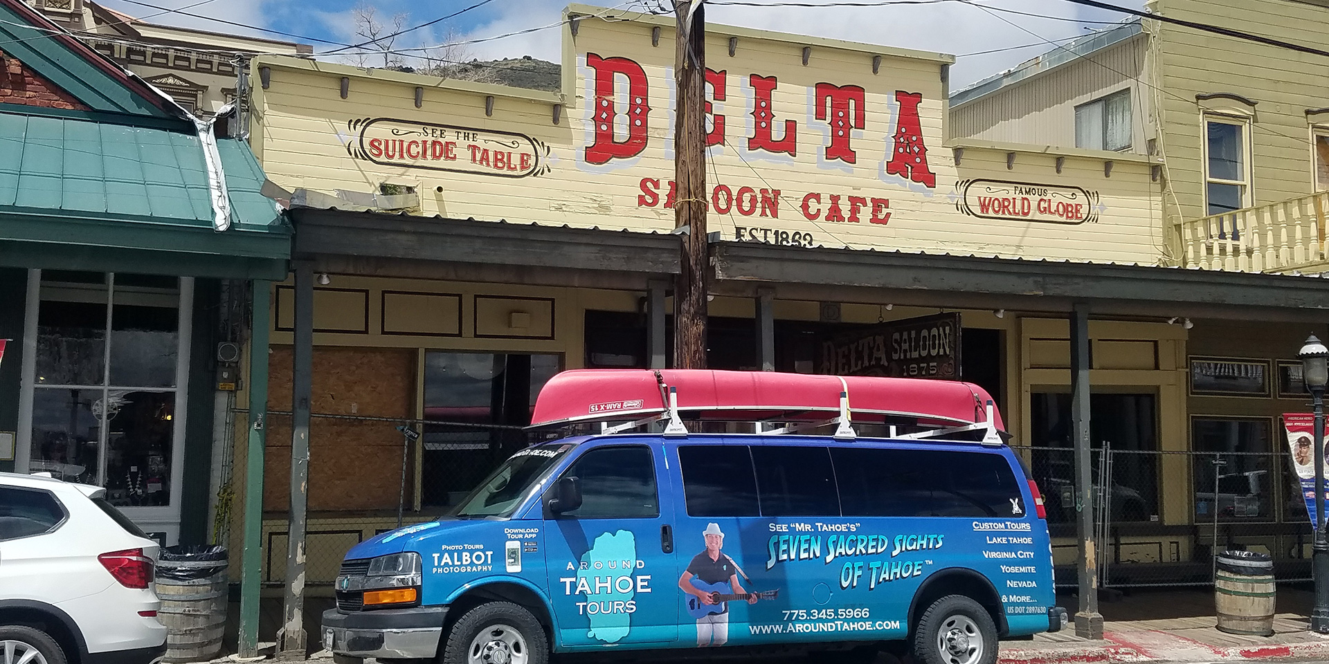 Around Tahoe Van in front of Delta Saloon in Virginia City